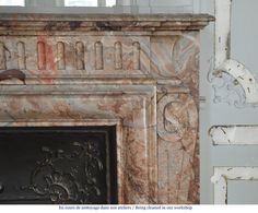 Beautiful antique Louis XIV style fireplace with acroterion in Sarrancolin Fantastico marble (Reference - Available at Galerie Marc Maison Louis Xiv, Antique Mantel, Architectural Antiques, Decoration, 19th Century, Carving, Fire, Beautiful, Architecture
