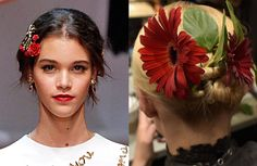 Flower Power from 9 Badass Beauty Trends for Spring  Usually, spring flowers make for pretty bouquets and center pieces. But according to the pros at Dolce & Gabbana and Alice+Olivia, it's best to skip the vase and place the blooms straight in your tresses.