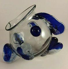 a2b4440bdaa5 Unique Art Glass Cobalt Blue   Clear Fish Candy Dish   Container Bowl   Artglass