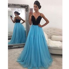 Tidetell Spaghetti Strap Prom Dress Blue Tulle Full-Length Party Evening Dresses Seep V-Neck Sexy Long Gown 2017 Sparkling Dress