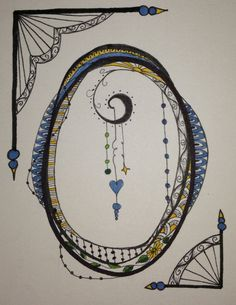 Zen Tangle / Doodle Art Letter O, working on the alphabet. By Jeannie Phillips