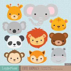 Cute Animals Digital Clipart by LittleMoss on Etsy Baby Wild Animals, Jungle Animals, Woodland Animals, Cute Baby Animals, Cute Animals With Funny Captions, Cute Animals Puppies, Baby Puppies, Cute Animal Videos, Cute Animal Pictures