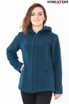 Bluza polarowa z kapturem, Kreator Studio Mody, r. 52 - Rozmiar 52 - Bluzy polarowe