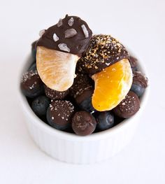 Chocolate Covered Mandarins and Blueberries on MarlaMeridith.com