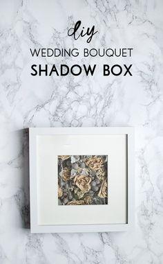 Make a modern wedding bouquet shadow box using an Ikea Ribba frame. A wonderful DIY keepsake for a newlywed couple.
