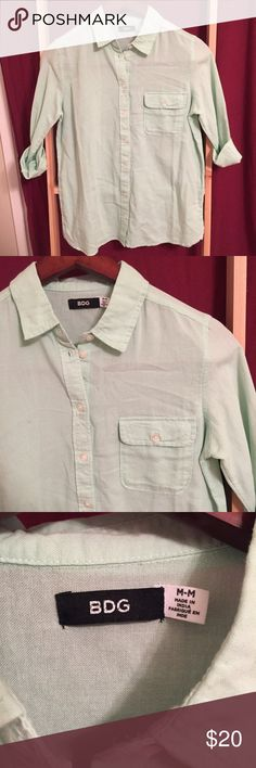 BDG - Cotton Button Up (Mint) NWOT A simple cotton button up, semi-sheer and summertime ready! Never worn. Urban Outfitters Tops Button Down Shirts