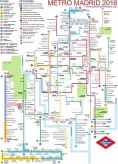 Official Map: Metro de Madrid, Spain Another map that asks the question: how much abstraction and geographical simplification is too much? From what I understand, this map of the Madrid Metro system. Transport Map, Public Transport, Plano Metro Madrid, Metro Map, Subway Map, Rapid Transit, U Bahn, Metro Station, Spain And Portugal