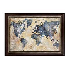 Distressed World Map Framed Art Print | Kirklands