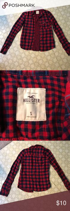 Hollister Cotton Button-Down Flannel Blue & red Hollister cotton Flannel. Used, but in very good condition. Has some wrinkles, but can be ironed out. All buttons are intact, no flaws. Sleeves can also be buttoned. Comes from a smoke-free, pet-friendly home. Size small. Hollister Tops Button Down Shirts