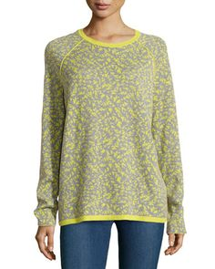 Long-Sleeve Jacquard Sweater, Apple Green  by Halston Heritage at Neiman Marcus.