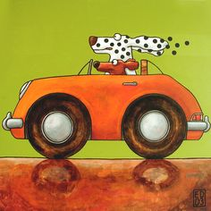 Fine Day Out : Ed van der Hoek Dachshund, Dog Paintings, Acrylic Paintings, Simple Paintings, Dog Car, Whimsical Art, Days Out, Painted Rocks, Giclee Print