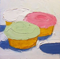 Small oil painting of Cupcakes with butter cream icing.