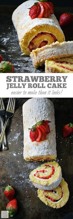 Strawberry Jelly Roll Cake | by Life Tastes Good just in time for Valentine's Day! You already make their heart go pitter patter, so why not treat their taste buds to this rich, delicious cake with fresh Florida strawberries all rolled up into a pretty package. #LTGrecipes #StrawberryRecipes #DessertRecipes #CakeRecipes #jellyrollcake