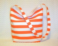 Striped Beach Tote Weekender Bag Overnight by BizzieLizzieHandmade, $40.00