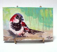 Art Original Acrylic Bird Painting with Easel by bigapple60,