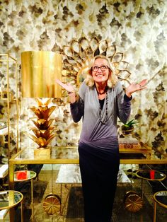 What a wonderful surprise to find new Candice Olson wallpaper displayed in World's Away showroom in High Point Market. Wallpaper pattern Mirage from York's Modern Nature Book. #york #wallpaper #candiceolson #interiordesign #homedecor