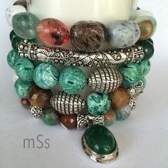 Gemstone Beaded Bracelet Stack of Five Gemstones: A Mix of 10mm and 12mm Magnesite, Agate, Jade, Tigers Eye and Aventurine Silver-Tone Tibetan Caps