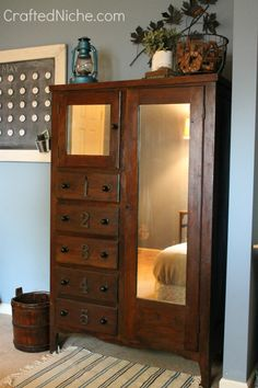 Armoire- Have restored one like this to use as storage in master bath. GB  would be wonderful in entry