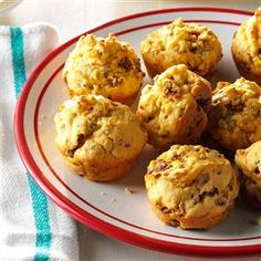 """Sausage Cheese Muffins Recipe -""""These small savory muffins are fun to serve as appetizers or at brunch,"""" writes Willa Paget of Nashville, Tennessee. """"With just five ingredients, the tasty bites are easy to whip up to take to a party, the office or a sick friend."""""""