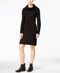 Tommy Hilfiger Georgina Cowl-Neck Sweater Dress, Only at Macy's - Black 2XL