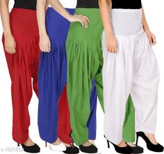 Ethnic Bottomwear - Patiala Pants Women's Solid Cotton Patiala Pant ( Pack of 4 ) Fabric: Cotton Waist Size:  M- 30 in, L- 32 in, XL- 34 in , XXL - 36 in Length: Up to 39 in Type: Stitched Description: It has 4 Pieces Of Patiala Pant Pattern: Solid Sizes Available: Free Size, S, M, L, XL, XXL, XXXL, 4XL *Proof of Safe Delivery! Click to know on Safety Standards of Delivery Partners- https://ltl.sh/y_nZrAV3  Catalog Rating: ★4.2 (5909)  Catalog Name: Eva Women's Solid Cotton Patiala Pants Combo Vol 17 CatalogID_260422 C74-SC1018 Code: 984-1971854-