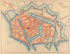 Vlissingen ca 1750 met de Oosterhaven, de zeesluis en de Dokhaven. Star Fort, Fantasy City, Fantasy Fiction, Walled City, Old Maps, Fortification, City Maps, Historical Maps, Old City