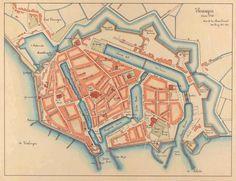 Plattegrond ca 1750 met de Oosterhaven, de zeesluis en de Dokhaven.