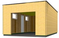 garage en bois type ossature bois en toit plat - Plan Garage Ossature Bois Toit Plat