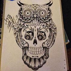 desenho-tatuagem-de-coruja-com-caveira.jpg (340×340)