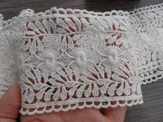 "2.95"" wide Cotton Lace Trim Retro Off white Lace Fabric Trim For Altered Couture, Headbands, Clutch, Pillowcase, Garments"