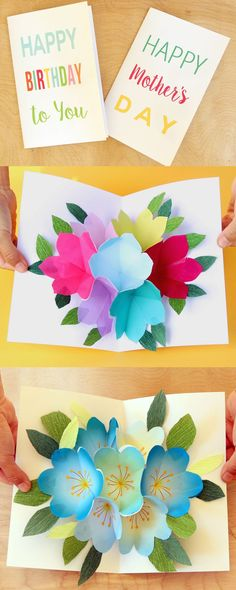 Handmade beautiful pop-up Happy Birthday Card in 3 simple steps, perfect for him or her! Free printable templates, video tutorial and helpful tips on how to make a great pop up bouquet quickly and easily!