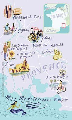 Illustrated map of Provence, France   Mundo dos Mapas, Nik Neves + Marina C.