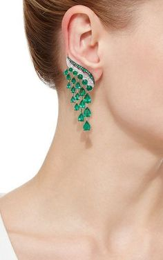 Shop Vanleles x Gemfields Emerald Earrings. These scintillating earrings, intricately embellished with round brilliant diamonds, feature lavish Gemfield sourced Zambian emeralds cascading throughout. Emerald Earrings, Emerald Jewelry, Ear Jewelry, Diamond Jewelry, Silver Jewelry, Jewelry Accessories, Fine Jewelry, Jewelry Design, Diamond Stud