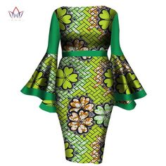 Gender: WomenPattern Type: PatchworkNeckline: V-NeckSleeve Length(cm): ShortDecoration: BowSleeve Style: RegularSilhouette: SheathDresses Length: Mid-CalfMateri Elegant Dresses For Women, African Dresses For Women, African Print Dresses, African Attire, African Wear, African Fashion Dresses, African Women, African Outfits, African Style