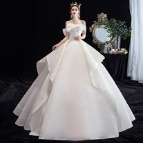White one word shoulder wedding dress satin wedding dress strapless wedding dress dream wedding dress sold by Elegant dress. Shop more products from Elegant dress on Storenvy, the home of independent small businesses all over the world. Classy Wedding Dress, White Wedding Dresses, Off Shoulder Wedding Dress, Fantasy Gowns, Princess Ball Gowns, Beautiful Dresses, Babe, Dream Wedding, Fashion Clothes