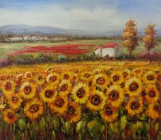 "Oil Painting on Stretched Canvas- ""Field of Enormous Sunflowers""- 20x24"" #Impressionism"