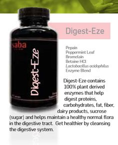 Digest-Eze contains 100% plant derived enzymes that help digest proteins, carbohydrates, fat, fiber, dairy products, sucrose (sugar) and helps maintain a healthy normal flora in the digestive tract. Get healthier by cleansing the digestive system. #Pepain #PeppermintLeaf #ACE #Saba #digestion #cleansing #flora https://yourplaceforace.storenvy.com/ http://www.dianejohnson.sababuilder.com/