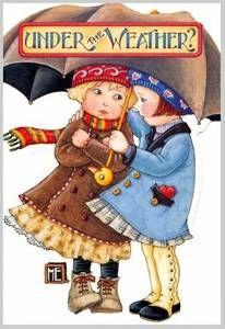 mary engelbreit friends - Under the weather? Mary Engelbreit, Jessie Willcox Smith, Art Ancien, Creation Photo, Under My Umbrella, Umbrella Tree, Mary I, Vintage Cards, Vintage Labels