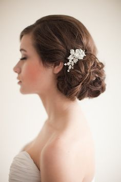 Flower Rhinestone Bridal Comb Floral by MelindaRoseDesign on Etsy, $50.00