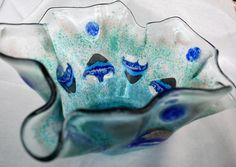 Bowl serving salad or fruit bowl Fused Glass Bowl Blue #art #fusedglass #homegoods