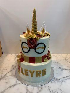 Tarta buttercream Harry Potter unicornio. Harry Potter, Birthday Cake, Cupcakes, Desserts, Food, Fondant Cakes, Lolly Cake, Candy Stations, Cookies
