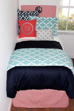 Navy, Coral, Aqua & Grey dorm room bedding and décor. Designer headboard, custom pillows, exclusive bed scarf, window panels, wall art, bed skirts, twin XL duvet and custom monogramming!! Turn your dorm from drab to fab!! http://www.decor-2-ur-door.com/designer-dorm-bed-in-a-bag-sets/blue-custom-bedding-sets-teen-girl-dorm-room-apartment-home-bed-in-a-bag/navy-coral-aqua-grey-teen-girl-dorm-room-custom-bedding-set?utm_content=bufferb33bb&utm_medium=social&utm_source=pinterest.com&utm_campaign=b…