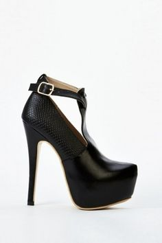 Ankle Buckle Strap Heels With Mock Croc Panel
