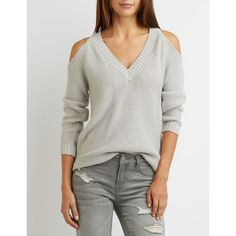 Charlotte Russe Shaker Stitch Cold Shoulder Sweater ($26) ❤ liked on Polyvore featuring tops, sweaters, heather gray, open shoulder top, long sleeve sweater, cold shoulder tops, ribbed sweater and charlotte russe