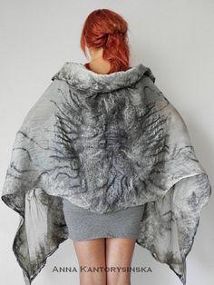 nuno felted silk scarf shawl wrap SHADOW handmade by kantorysinska, $154.00