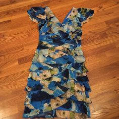 SALE!! NWOT! Double layered, shades of blue and green, zip up in the back, from Belk. Dresses