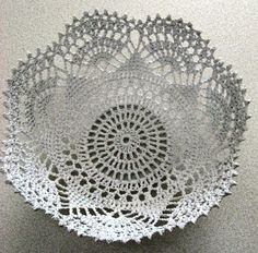 Old, Large Handmade, Crocheted Lace, Doily Bowl - An Heirloom Crochet Bowl, Crochet Motif, Hand Crochet, Knit Crochet, Crochet Patterns, Doilies Crafts, Lace Doilies, Crochet Doilies, Crocheted Lace