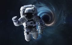 Illustration of an astronaut floating in a dark sky with a dark blue whirlpool in the background.
