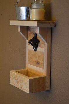 Rustic Cedar Reclaimed Wood Bottle Opener with Shelf