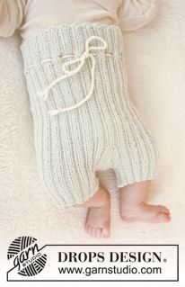 "Knitted DROPS short pants in rib in ""Baby Merino"". Size premature - 4 years. ~ DROPS Design"